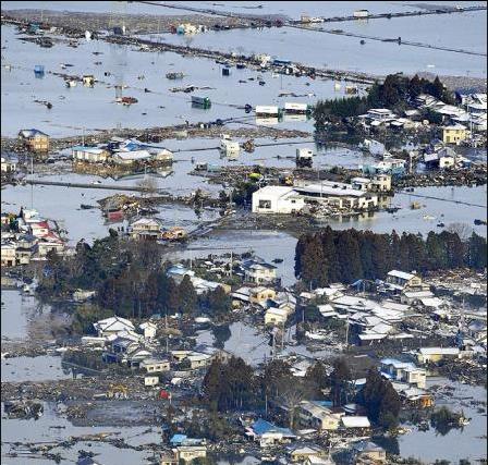 Casas inundadas en el noroeste de Japón. Fuente: El País.com vía Reuters